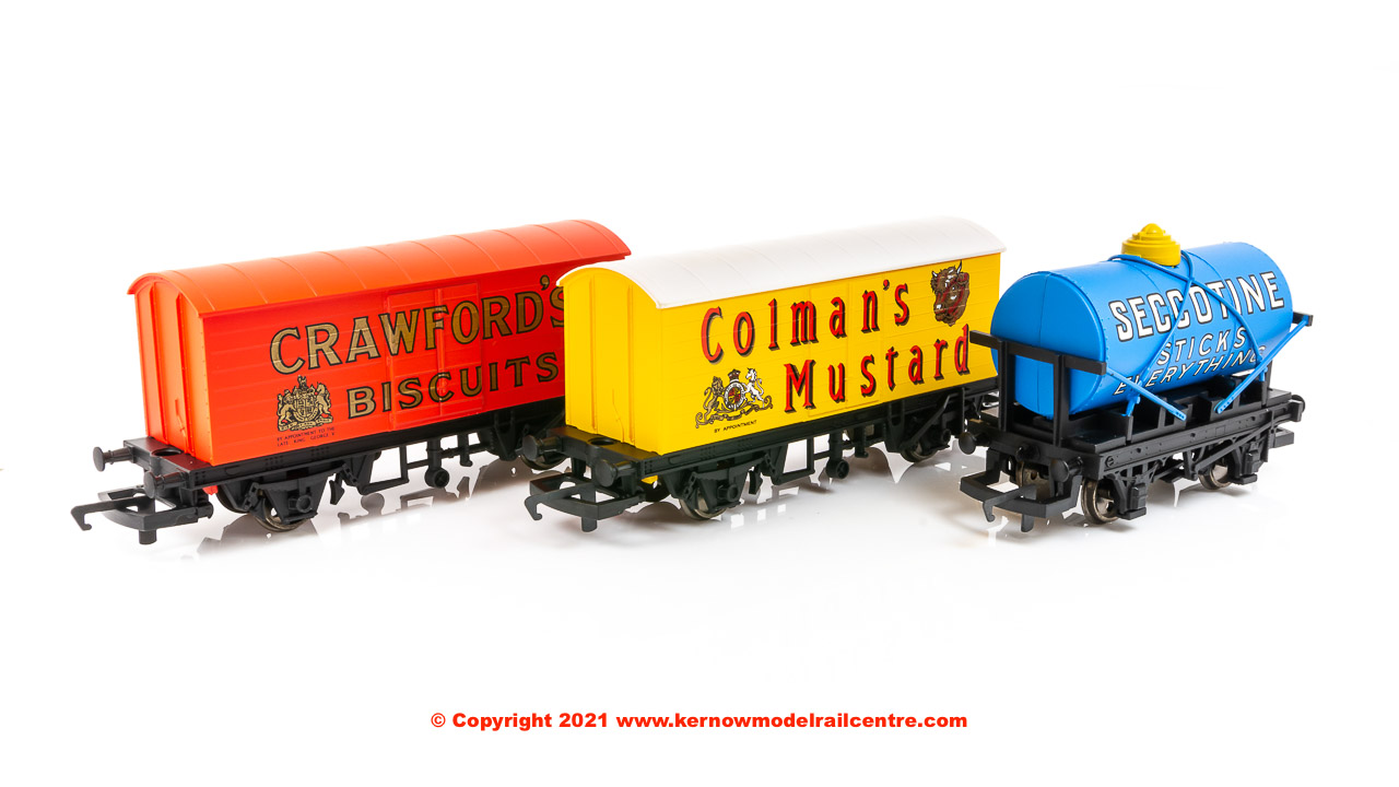 R6990 WSL Hornby Retro Wagons, three pack, Crawfords Biscuits, Seccotine Tanker, Colemans Mustard